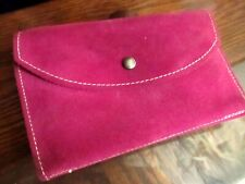 Vtg 70s GENUINE COWHIDE HOT PINK Leather Clutch Wallet ORGANIZER