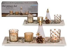 Wooden Tray with Votive, Santa Candle & Tea-light Holders Gold Gift Set (Boxed)