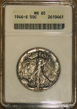 1946-S 50C Silver Walking Liberty Half-dollar MS 65 ANACS 2610461 Monster +Bonus