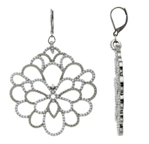 Vera Wang Earrings Silver Pearl Flower Floral Inspired Design Lever Back Closure