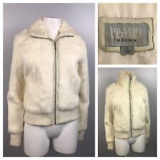 1990s White Rabbit Fur Jacket / Wilson's Leather Cropped Coat / Women's Medium