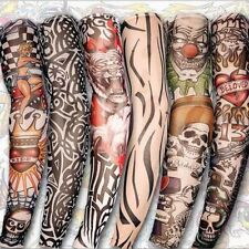 8 PCS Nylon Fake Temporary Tattoo Sleeve Arm Stockings Tatoo For Men Women