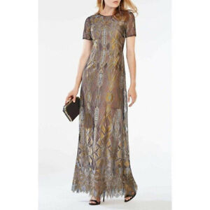 BCBG black gold art deco engineered lace gown maxi dress 10 NWT $690
