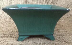 Hand Made Green Glazed Cascade Bonsai Pot 12x12x7cm