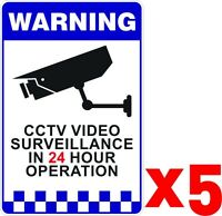 BULK x5 Warning CCTV Security Surveillance Camera Adhesive Stickers 200x300mm