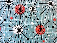 RPFCHE03 Retro RARE Atomic Era Sputnik Starburst MCM Mod Cotton Quilt Fabric