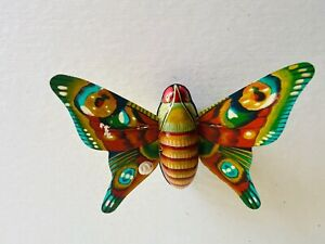 Vintage Tin Friction Butterfly Toy Litho Japan Moth - Works Great