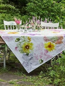 April Cornell 54 X 54 TUMBLING HYDRANGEA floral SQUARE TABLECLOTH cotton - NEW