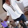 T-shirt à Manches Longues à Col en V Pour Femmes Top Sexy à Paillettes Top Loker