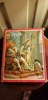 ANTIQUE J.W.S. & S BAVARIA LITHOGRAPH WOOD PUZZLE SET 4 JIGSAW PUZZLES