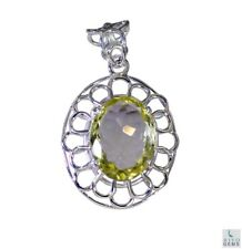 Yellow 925 Sterling Silver Natural attractive Lemon Quartz gemstone Pendant AU
