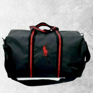 BRAND NEW RALPH LAUREN POLO BLACK & RED WEEKEND TRAVEL GYM HOLDALL DUFFLE BAG
