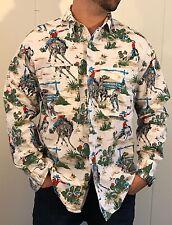Vintage Benetton Cotton Button Down Rancher Cowboy Desert Print sz M Made Italy