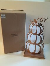 YANKEE CANDLE 3 Tealight Holder PUMPKIN TOWER Copper NEW With Tags Boxed FALL