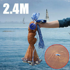 """8FT 2.4m Fishing Net Bait Easy Throw Hand Casting 3/4"""" Strong Nylon Mesh"""