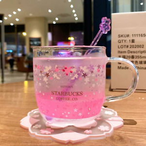 New Starbucks Glass Cup Color-changing Pink Sakura Coffee Cup With Coaster + Rod