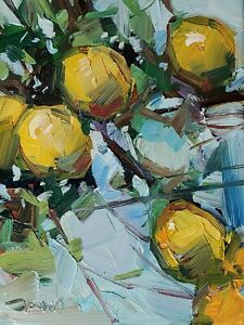 JOSE TRUJILLO Oil Painting IMPRESSIONISM Contemporary COLLECTIBLE LEMONS