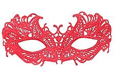 Masque dentelle rouge, accessoires sexy , déguisement soirée coquine, Halloween