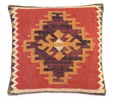 Indian Jute Cushion Cover Throw Handmade Sham Hand Woven Kilim Decorative Pillow