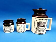 Vintage Abenakis Beauce Ye Old Canadian Crock Print Pottery Coffee / Tea Set