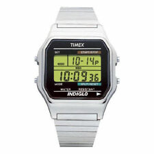 Silver Case Digital Stainless Steel Strap Wristwatches