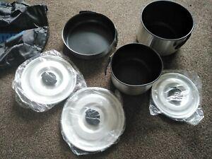 Kampa Feast Cookware Set Saucepans Frying Pan Stackable Non-Stick Lids Camping