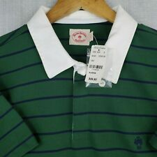 NWT BROOKS BROTHERS Red Fleece Size XL Green Striped Rugby Polo Golf Shirt New