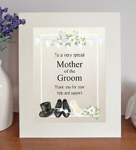 MOTHER OF THE GROOM Free-Standing Thank You Gift Lovely Wedding Favour Present