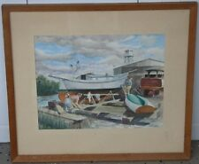 George Carpenter-NA-AWS-Watercolor-Dockside Workers-1960's-Great Early Work