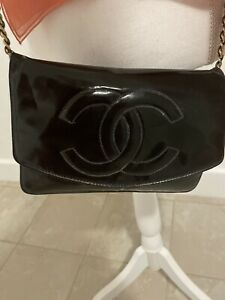 Authentic CHANEL Black Patent Leather Mini Crossbody Bag 24KT Gold  HDW $3800