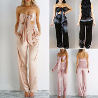 Women Crop Tops+Long Pants Two-piece Set Bodysuit Casual Beach Playsuit Romper
