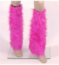 Pink Fluffy Leg Warmers Boot Covers EIGHTIES 80s NEON FANCY DRESS RAVE DISCO
