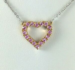 Rose & White Gold Pink Sapphire Heart Necklace 18k Gold
