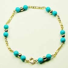 14k solid y/gold lightweght 6 inches natural Arizona Turquoise bracelet
