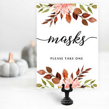 Masks Sign and Sign Holder for Autumn Wedding, Social Distancing Sign