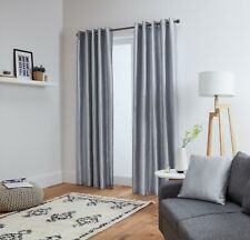 Faux Silk Curtains - Eyelet - Luxury Fully Lined - Ring Top - Black Silver White