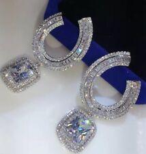 18k White Gold GF Earrings made w/ Swarovski Crystal Baguette Stone Gorgeous