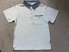H&M LIGHT GREY T.SHIRT WITH BLUE COLLAR & WITH BUTTONS AND POCKET - AGE 2-4y