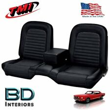 19641/2 -1965 Ford Mustang Black Front Bench Seat Upholstery Made in USA by TMI