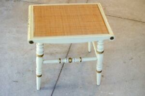 L Hitchcock Stencil Decorated Wood Stool ivory gold woven natural