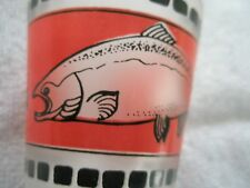 ALASKA shot glass  frosted  finish with Salmon