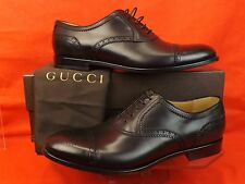 NIB GUCCI BLACK BETIS DERBY LEATHER WINGTIP PERFORATED OXFORDS 7 8 $645 #312279