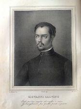 GIOVANNI CALVINO Teologo Litografia originale da  UOMINI ILLUSTRI 1838 FRANCIA