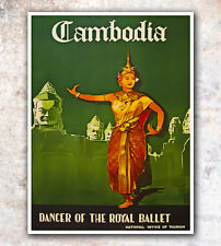 """Vintage Travel Poster Cambodia 12x16"""" Rare Hot New A302"""