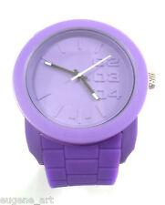 Big Watch DZ1438 Bulky Round Purple Soft Silicone Wristband  Analog Dial Unisex