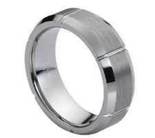 7mm Men & Ladies Tungsten Carbide Beveled W. Vertical Grooves Wedding Band Ring