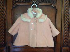 Vintage Antique Handmade Child's Coat Rabbit Fur Collar Pink Wool