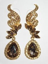 GOLD W. GOLD RHINESTONE CRYSTAL TEARDROP GUN METAL EARRINGS