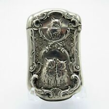 Antique Sterling Matchsafe with 3 Kittens, Match Safe, 3 Kitty Cats, Vesta NR