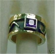 Hadar Designers Artigianale 9k Oro Giallo Argento 925 Anello di Ametista 6 7 8 9